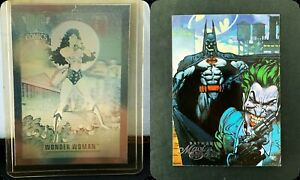 DC PROMO CARDS LOT OF 2 WONDER WOMAN (HOLOCARD) AND BATMAN MASTER SERIES PREMIER