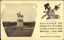 Boston MA Knights of Pythis Bean Pot Border Washington Monument Postcard