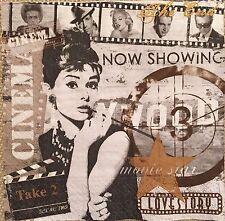2 single paper napkin decoupage collection Retro Audrey Hepburn Cinema Hollywood