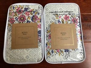 Cupcakes and Cashmere BLOCK PRINT FLORAL 2pc King Shams PAIR Cotton NWT