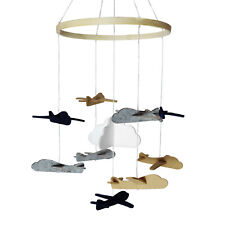 Baby Crib Mobile 3D Handmade Felt Nursery Mobile, Hanging Rotating Airplanes Boy