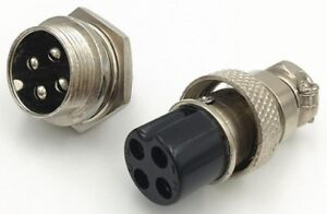 4-Pin 16mm XLR Audio Cable Connector Chassis Mount - Male & Female set