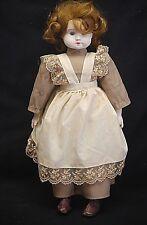 """Old Vintage ZASAN """"PAT.P"""" 18"""" Porcelain Doll w Blue Eyes Dress Apron Brown Boots"""