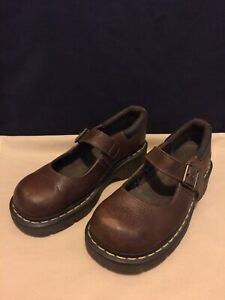 Dr.Martens Annalisa Leather Brown Mary Jane Shoes AW004 Women's US 8 / EU 39