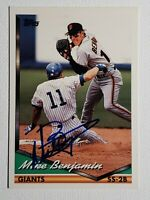 1994 Topps Mike Benjamin Autograph Card Giants Red Sox Pirates Phillies #487