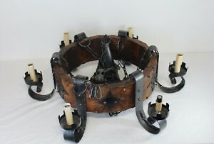Vintage Spanish Medieval Gothic Chandelier Iron Metal Wood 7 Lights