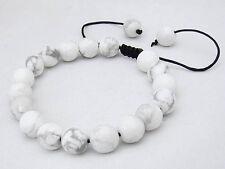 Gemstone Shambhala bracelet all 10mm WHITE TURQUOISE stone round beads
