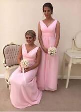 CHIFFON BRIDESMAID DRESS A-LINE MAXI BEACH PROM BALLGOWN VNECK LONG PLUSSIZE LOT