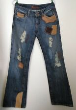 Miss Me Destroyed Jeans 28 Blue Brown Suede Corduroy Flap Patchwork Bootcut