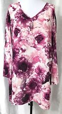Catherines Women's 1X 18W 20W Blouse Floral Pink Purple Accordion 3/4 Sleeves