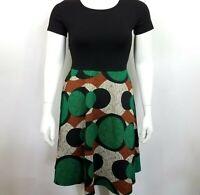 Yishiwei Women's Dress Size XL Short Sleeve Flared Black/Multi