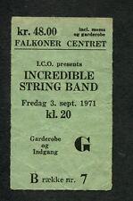 1971 Incredible String Band Concert Ticket Stub Copenhagen Liquid Acrobat