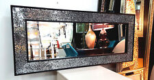 Crackle Silver Mosaic Glass Black Frame Wall Mirror moroccan 120x50cm Handmade