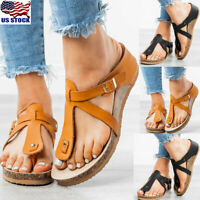 Womens Ladies Wedge Comfort Sandals Summer T-Strap Thong Flip Flops Shoes Size