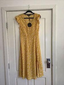 Caroline Morgan Women's Size 10 Yellow Spot Dress - New With Tags