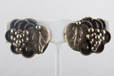 SILVER CLUSTER OF GRAPES LEAF CLIP ON EARRINGS FINE 5860B
