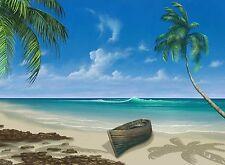 TROPICAL BEACH CANOE PALM TREE MOUSE PAD  9 X 7