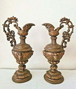 18th Century Antique Asian Brass Candle Holders Dragon Floral Beautiful Details