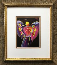 "Peter Max ""Angel With Heart"" (sm)  NEWLY CUSTOM FRAMED Pop Art Print Psychedelic"