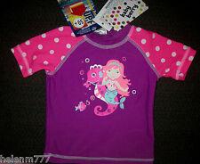 Baby Bery Girls 0 - 3 M UPF 50+ Mermaid Seahorse Pink Sleeve Rash Vest Swimwear