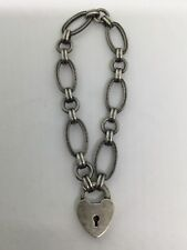 Vintage Fancy Silver Chain With Heart Shape Lock Bracelet (S81)