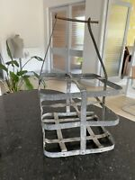 French Wine Carrier Bottle Holder Vintage Picnic Accessory Galvanised Iron