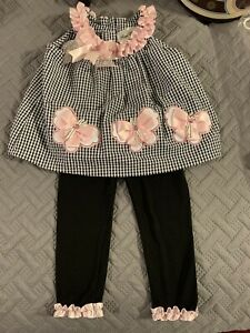New RARE EDITIONS Girls Size 18 Mo Cotton Blend 2 Pc Outfit Set NWT