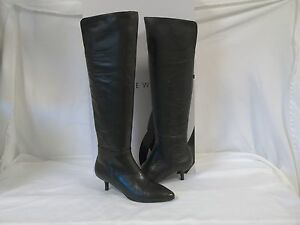 Nine West 5.5 M RISENSHINE Black Leather Knee High Boots New Womens Shoes