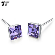TT 925 Sterling Silver 5mm Square Crystal Stud Earrings (925E04) NEW