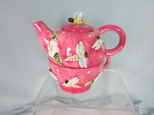 Unbranded Tea Pot for One Pink White Dragonflies Polka Dot Dragonfly Ceramic New