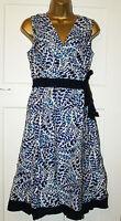 NEW DEBENHAM Blue Print Cotton Summer Tea Dress VINTAGE 50s STYLE Dress