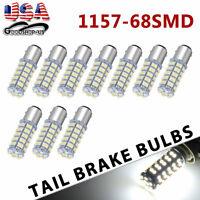 10x White 1157 BAY15D 68-SMD Car Tail Brake Stop Led Light Bulb 2057 7528