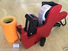 Us Seller Mx-5500 8 Digits Price Tag Gun Labeler +2000 Orange Tags labels +1 Ink