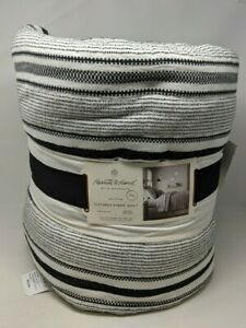Heath & Hand with Magnolia KING Textured Stripe Quilt [Black/White, New, Cotton]