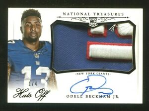 2014 National Treasures Odell Beckham Jr. Hats Off Rookie Patch Auto #/4