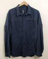 REI Mens Blue Long Sleeve Button Down Hiking Travel Camp Shirt Vented Size XXL