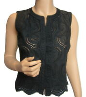 RALPH LAUREN WOMEN BLACK EYELET BLOUSE 6P PETITE SLEEVELESS NWT (41)