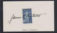 James P. Mitchell, Us Secretary of Labor, signature across 3c Labor Day stamp