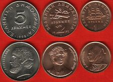 Greece set of 3 coins: 1 - 5 drachmes 1990-1998 UNC