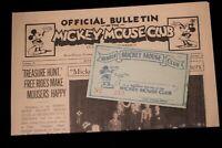 Walt Disney Mickey Mouse Club Membership Card + Official News Bulletin 1932 2005