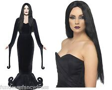 Halloween Morticia Deluxe Costume & Wig Medium 12-14 Fancy Dress SALE