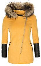 Parka Chaqueta mujer Abrigo de invierno Capucha Piel artificial lana D-133 NUEVO