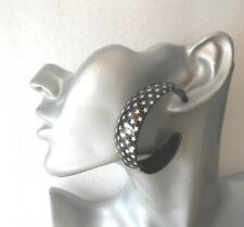 CHUNKY BLACK AND WHITE STAR HOOP EARRINGS RETRO 80s LARGE - CLIP-ON BY REQUEST