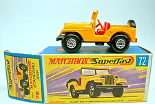 MATCHBOX SF nº 72 a Standard Jeep Jaune Cycle Ballon roues Top Dans Box