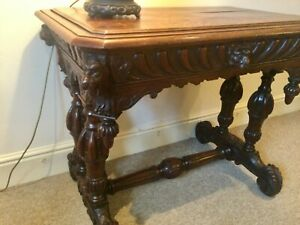 Antique Victorian Heavily Carved Oak Library Table with Drawer