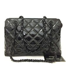 CHANEL Quilted Black Hardware CC Logo Patent Leather Chain Shoulder Bag /o525