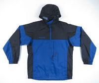 Columbia Blue Black Hooded Packable Rain Coat Jacket Zip Pockets Mens S NWOT