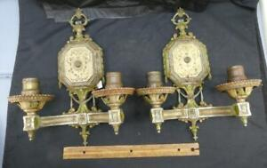 2 Antique Vintage 1920's Lighted Wall Sconces Lights One Pair 2 Arm Lights ISCO