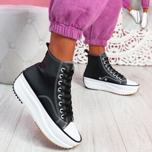 WOMENS LADIES HIGH TOP FLATFORM TRAINERS LACE UP PLIMSOLLS SNEAKERS WOMEN SHOES