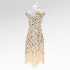 New 1920's gatsby vintage flapper charleston tassel sequin cream dress UK 8-18